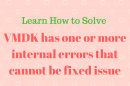 vmdk has one or more internal errors that cannot be fixed
